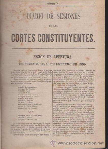Libros antiguos: DIARIO DE SESIONES DE LAS CORTES CONSTITUYENTES 1869 - TOMO I - J.A.GARCÍA, IMPRESOR 1870 / MADRID - Foto 2 - 52314693