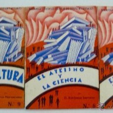 Libros antiguos: LOTE TRES CUADERNOS BIBLIOTECA POPULAR EL ATEISMO EL SOCIALISMO EL SEXO 1933. Lote 54640736