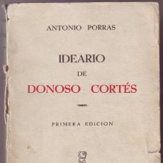 Libros antiguos: IDEARIO DE DONOSO CORTES. RECOPILADO POR ANTONIO PORRAS. Lote 54863725