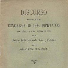 Libros antiguos: ESTADO SOCIAL DE BARCELONA – DISCURSO DE D. JUAN DE LA CIERVA Y PEÑAFIEL - 1920. Lote 58125868
