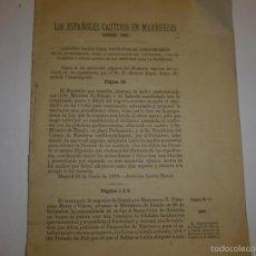 Libros antiguos: LOS ESPAÑOLES CAUTIVOS EN MARRUECOS DESDE 1867,A.LOPEZ BOTAS ,MADRID 1870. Lote 58303063