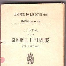 Libros antiguos: LIBRO LISTA DE LOS SEÑORES DIPUTADOS JUNIO 1886. Lote 58344956