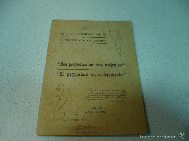 Libros antiguos: EL CONSILIARIO DEL SINDICATO C A DE ZAMBRA J. JIMENEZ MURIEL MAYO 1920 IMP.TENLLADO LUCENA - Foto 2 - 60142143