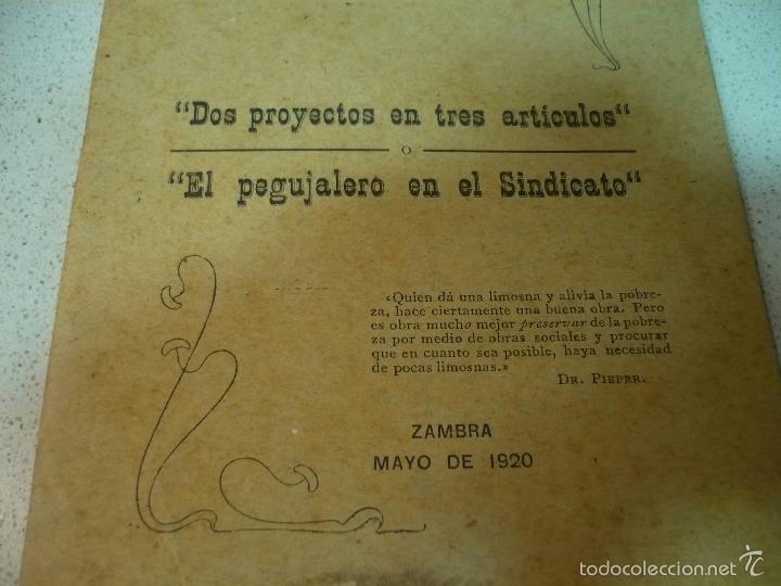Libros antiguos: EL CONSILIARIO DEL SINDICATO C A DE ZAMBRA J. JIMENEZ MURIEL MAYO 1920 IMP.TENLLADO LUCENA - Foto 3 - 60142143