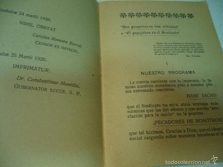 Libros antiguos: EL CONSILIARIO DEL SINDICATO C A DE ZAMBRA J. JIMENEZ MURIEL MAYO 1920 IMP.TENLLADO LUCENA - Foto 5 - 60142143