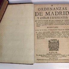Libros antiguos: ORDENANZAS DE MADRID, Y OTRAS DIFERENTES...CIUDADES DE TOLEDO Y SEVILLA... ARDEMANS, TEODORO (1760). Lote 67241289