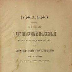 Libros antiguos: CÁNOVAS DEL CASTILLO : DEL ESTADO Y SUS RELACIONES CON EL INDIVIDUO Y LA CORPORACIÓN. (ATENEO, 1871. Lote 67996337