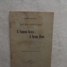 Libros antiguos: DISCURSOS PRONUNCIADOS POR FRANCISCO SILVELA Y ANTOPNIO MAURA. Lote 69870829
