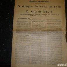 Libros antiguos: DISCURSOS DE J.SANCHEZ DE TOCA Y A.MAURA 1902 ATENEO DE MADRID. Lote 77335101