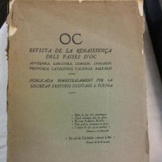 Libros antiguos: HOS. REVISTA DE LA RENISSENÇA DELS PAISES D'OC. OC. SOCIETAT ESTUDIS OCCITANS TOLOSA. 1933. 12.13. Lote 83382432
