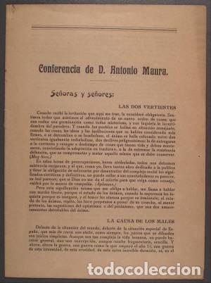 CONFERENCIA DE D. ANTONIO MAURA. CURSO DE CONFERENCIAS SOCIALES ORGANIZADO POR EL DEBATE. 1920 (Libros Antiguos, Raros y Curiosos - Pensamiento - Política)