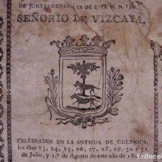 Libros antiguos: JUNTAS GENERALES SEÑORÍO DE VIZCAYA 1804. Lote 89676704