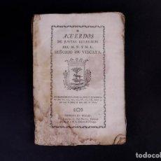 Libros antiguos: JUNTAS GENERALES SEÑORÍO DE VIZCAYA 1802. Lote 89679052