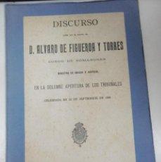 Libros antiguos: FIGUEROA Y TORRES, ALVARO CONDE DE ROMANONES: DISCURSO LEÍDO POR EL EXCMO. SR. MINISTRO DE GRACIA Y. Lote 95360995