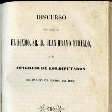 Libros antiguos: DISCURSO PRONUNCIADO POR EL EXCMO SR D JUAN BRAVO MURILLO EN EL CONGRESO DE LOS DIPUTADOS. Lote 95758071