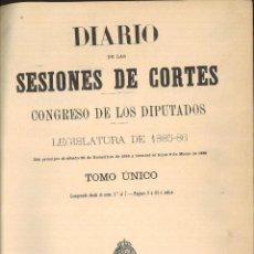 Libros antiguos: DIARIO DE SESIONES DE CORTES. CONGRESO DE LOS DIPUTADOS. LEGISLATURA DE 1885-86 TOMO ÚNICO.. Lote 96824243