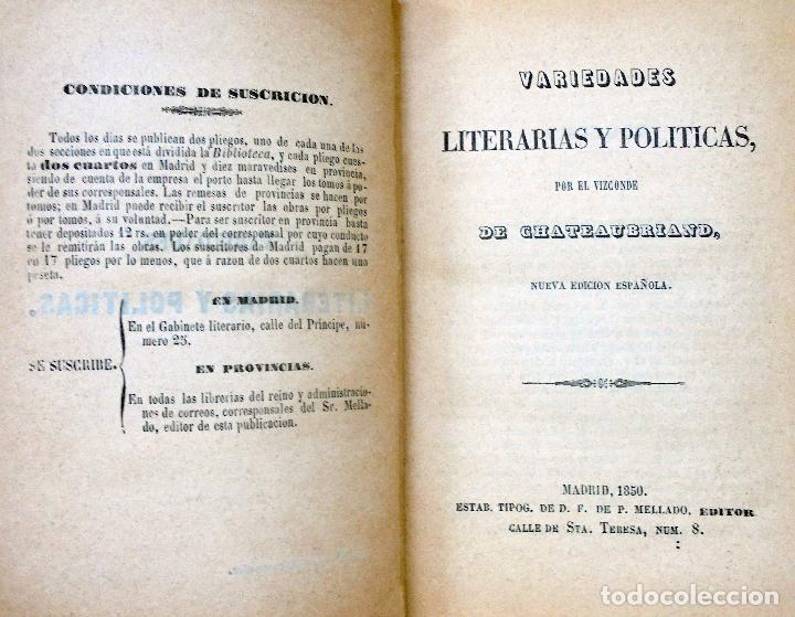 VARIEDADES LITERARIAS Y POLÍTICAS -, VIZCONDE DE. CHATEAUBRIAND.-1850 (Libros Antiguos, Raros y Curiosos - Pensamiento - Política)