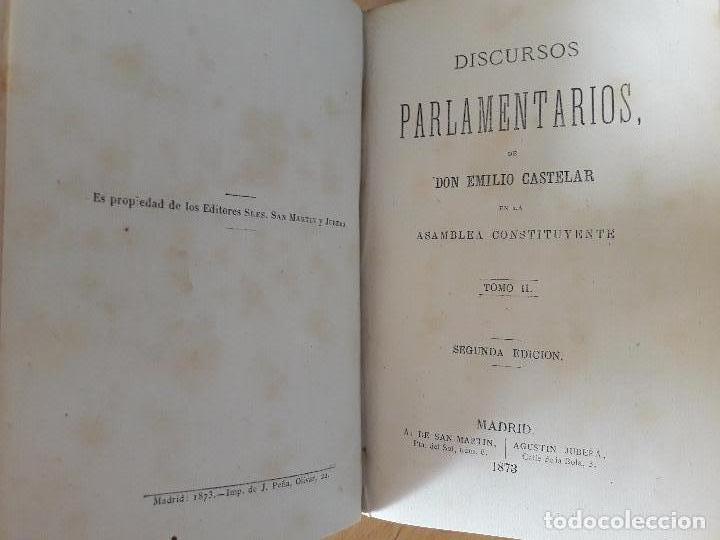 Libros antiguos: Discursos Parlamentarios de Emilio Castelar en la Asamblea constituyente Tomo I,II y III 1873- 411 - Foto 3 - 99896523