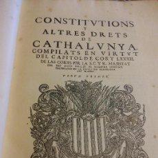 Libros antiguos: HOS. CONSTITUCIONS DE CATALUNYA. VOLUM PRIMER. 1704. JOAN PAU MARTI I JOSEP LLOPIS, BARCELONA. . Lote 107264859