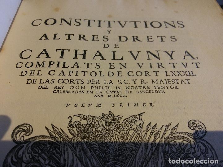 Libros antiguos: HOS. CONSTITUCIONS DE CATALUNYA. VOLUM PRIMER. 1704. JOAN PAU MARTI I JOSEP LLOPIS, BARCELONA. - Foto 7 - 107264859