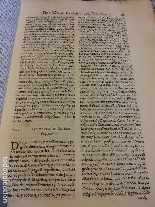 Libros antiguos: HOS. CONSTITUCIONS DE CATALUNYA. VOLUM PRIMER. 1704. JOAN PAU MARTI I JOSEP LLOPIS, BARCELONA. - Foto 12 - 107264859