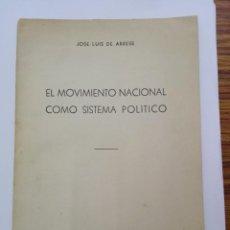 Libros antiguos: EL MOVIMIENTO NACIONAL COMO SISTEMA POLITICO DE JOSE LUIS DE ARRESE. AÑO 1945.. Lote 107571511