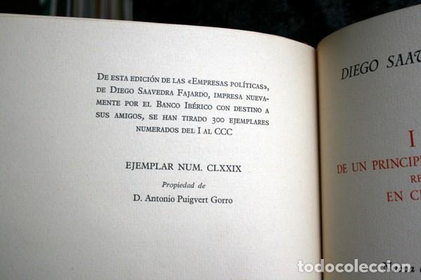 Libros antiguos: EMPRESAS POLITICAS - SAAVEDRA FAJARDO - EDICION LIMITADA Y NUMERADA - TAURUS 1967 - Foto 3 - 110746747
