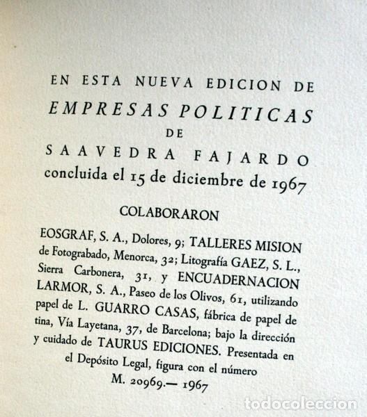 Libros antiguos: EMPRESAS POLITICAS - SAAVEDRA FAJARDO - EDICION LIMITADA Y NUMERADA - TAURUS 1967 - Foto 15 - 110746747