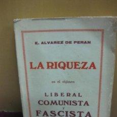 Libros antiguos: LA RIQUEZA EN EL REGIMEN LIBERAL, COMUNISTA Y FASCISTA. ALVAREZ DE PERAN. HORTA 1935. Lote 111280123