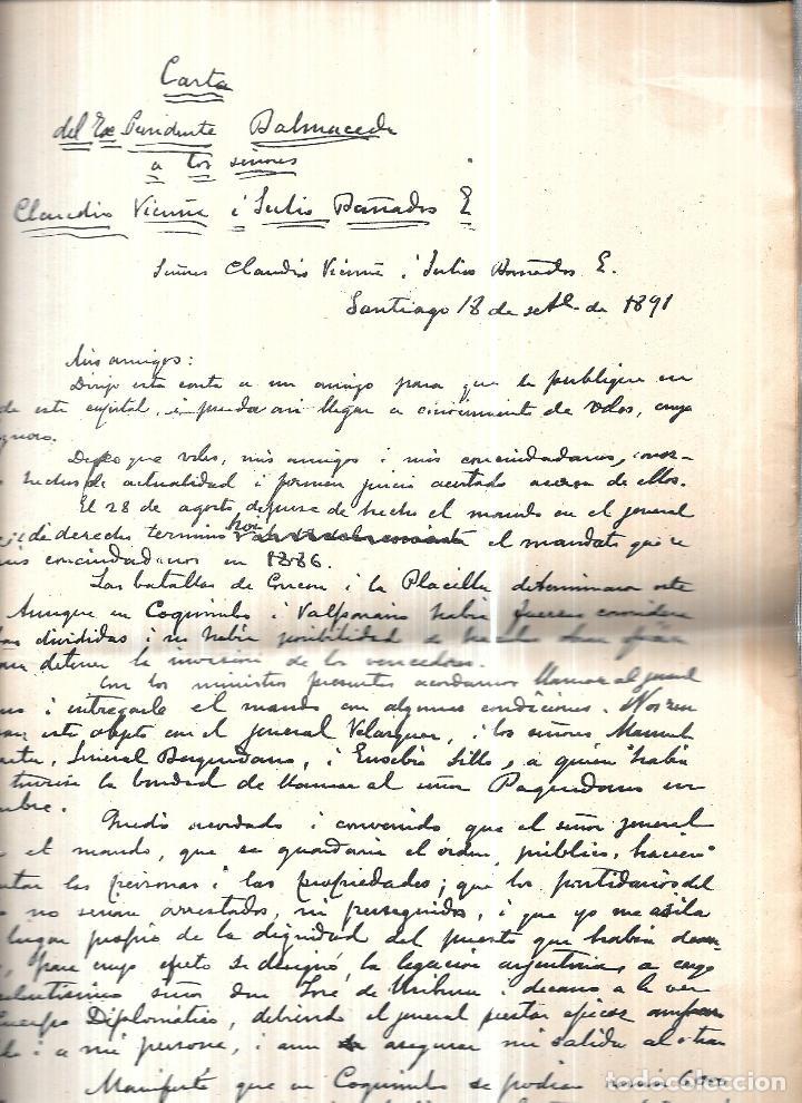 Libros antiguos: TESTAMENTO POLITICO DEL EXMO. SR.JOSE MANUEL BALMACEDA.19 DE JULIO DE 1840- 19 DE SEPTIEMBRE DE 1891 - Foto 3 - 112853363
