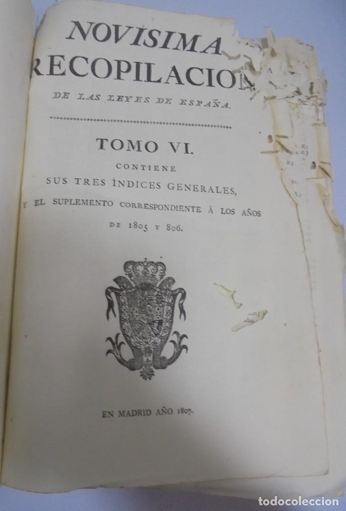 NOVISIMA RECOPILACION DE LAS LEYES DE ESPAÑA. TOMO VI. MADRID 1807. LEER (Libros Antiguos, Raros y Curiosos - Pensamiento - Política)