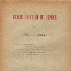 Libri antichi: CRISIS POLÍTICA DE ESPAÑA / JOAQUÍN COSTA. MADRID 1901 - 1ª ED. + COSTA EL GRAN DESCONOCIDO /. Lote 113565983