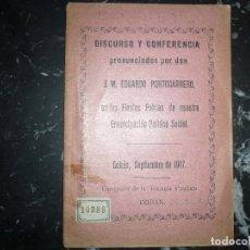 Libros antiguos: DISCURSO Y CONFERENCIA J.M.EDUARDO PORTOCARRERO 1917 COBAN -GUATEMALA . Lote 120693771