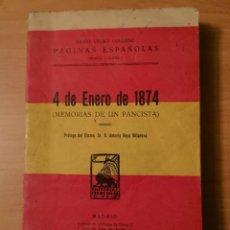 Libros antiguos: MEMORIAS DE UN PANCISTA 4 DE ENERO DE 1874, DARIO VELAO COLLADO. Lote 124234879