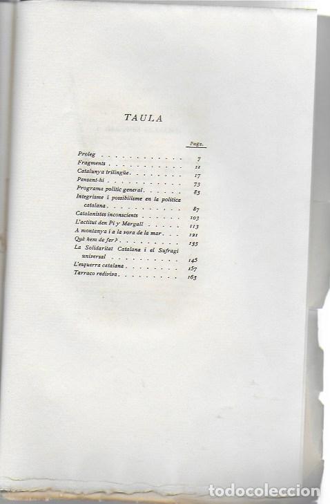 Libros antiguos: Catalonia. Assaigs nacionalistes / J. Cases-Carbó. BCN : L Avenç, 1908. 24x16 cm. 164 p. - Foto 3 - 125166459