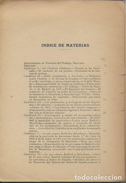 Libros antiguos: La cuestión catalana / Guillermo Graell. BCN, 1902. 21x14cm. 215 p. - Foto 2 - 127517211