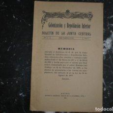 Libros antiguos: COLONIZACION Y REPOBLACION INTERIOR BOLETIN JUNTA CENTRAL 1920 MADRID AÑO II NUM 7 . Lote 134005938