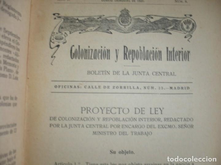 Libros antiguos: COLONIZACION Y REPOBLACION INTERIOR BOLETIN JUNTA CENTRAL 1920 MADRID AÑO II NUM 8 - Foto 2 - 134006454