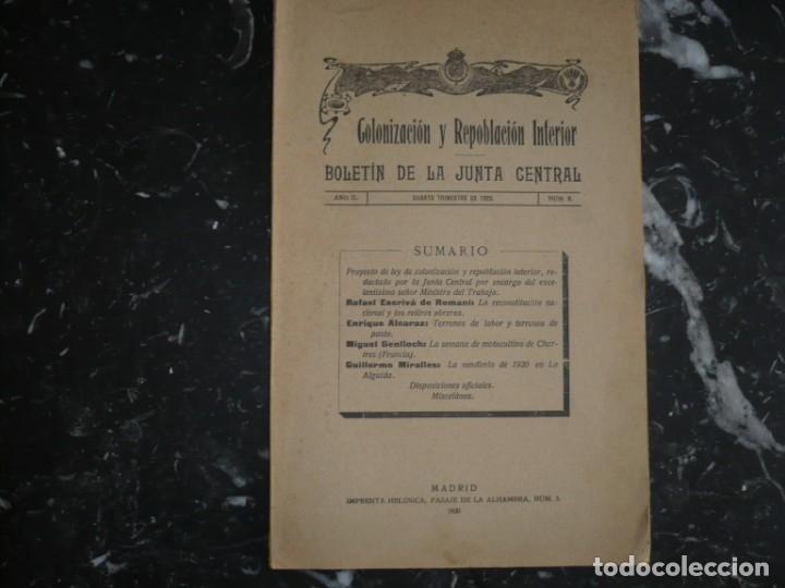 COLONIZACION Y REPOBLACION INTERIOR BOLETIN JUNTA CENTRAL 1920 MADRID AÑO II NUM 8 (Libros Antiguos, Raros y Curiosos - Pensamiento - Política)