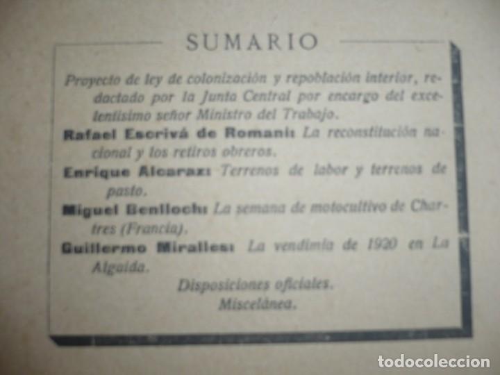 Libros antiguos: COLONIZACION Y REPOBLACION INTERIOR BOLETIN JUNTA CENTRAL 1920 MADRID AÑO II NUM 8 - Foto 3 - 134006454