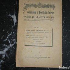 Libros antiguos: COLONIZACION Y REPOBLACION INTERIOR BOLETIN JUNTA CENTRAL 1922 MADRID AÑO IV NUM 15. Lote 134007358