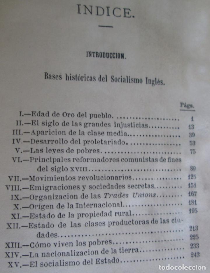 Libros antiguos: EL SOCIALISMO EN INGLATERRA - Por Eduardo de Huertas - Madrid 1885 - Foto 4 - 136068494