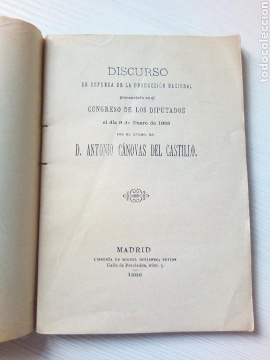 DISCURSO DEFENSA PRODUCCION NACIONAL ANTONIO CANOVAS DEL CASTILLO MADRID 1888 (Libros Antiguos, Raros y Curiosos - Pensamiento - Política)