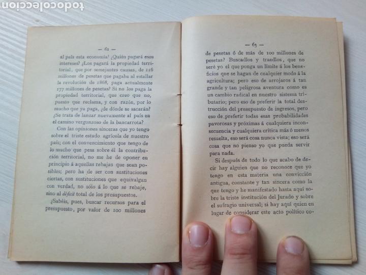 Libros antiguos: DISCURSO DEFENSA PRODUCCION NACIONAL ANTONIO CANOVAS DEL CASTILLO MADRID 1888 - Foto 2 - 136261324