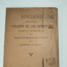 Libros antiguos: DISCURSO PRONUNCIADO EN EL CONGRESO DE LOS DIPUTADOS - EXCMO. SR. D. JUAN DE LA CIERVA Y PEAÑFIEL - . Lote 136762926
