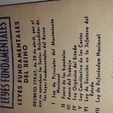 Libros antiguos: LEYES FUNDAMENTALES DEL REINO. GARCÍA ENCISO, 1970. . Lote 143634718