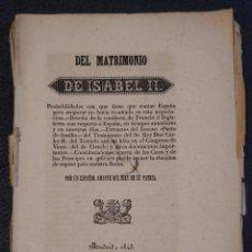 Libros antiguos: DEL MATRIMONIO DE ISABEL II PROBABILIDADES CON QUE TIENE QUE CONTAR ESPAÑA. 1842.. Lote 144741670