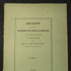 Libros antiguos: DISCURSOS LEÍDOS ANTE LA ACADEMIA DE CIENCIAS MORALES Y POLÍTICAS. JOSÉ LORENZO FIGUEROA. 1869.. Lote 144741902