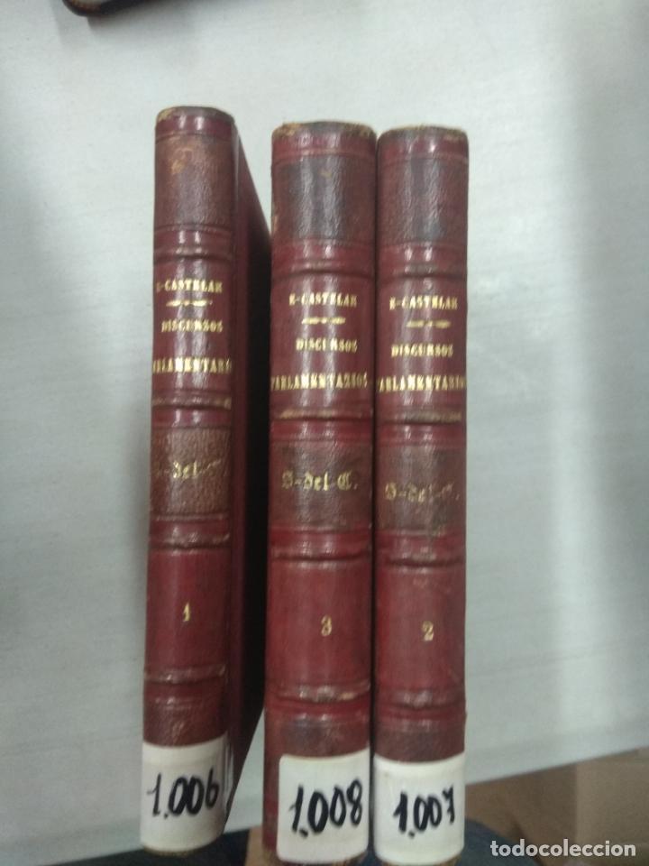 DISCURSOS PARLAMENTARIOS EMILIO CASTELAR - 3 TOMOS (Libros Antiguos, Raros y Curiosos - Pensamiento - Política)