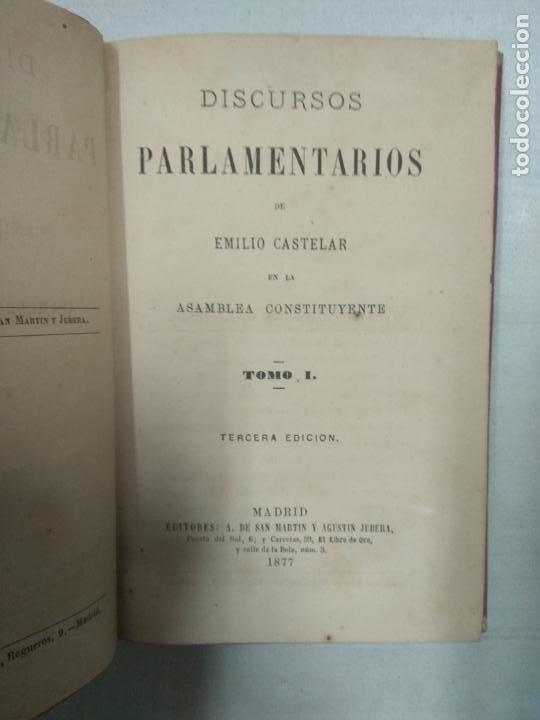 Libros antiguos: Discursos parlamentarios Emilio Castelar - 3 Tomos - Foto 3 - 146561738